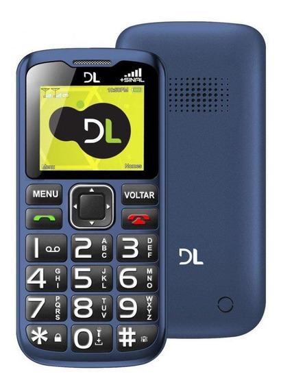 Celular Dl Yc-120 Dual Chip Botão Sos Lanterna Rádio Fm Azul