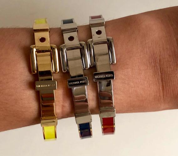 Pulseira Bracelete Michael Kors Prata Com Azul/ Certificado