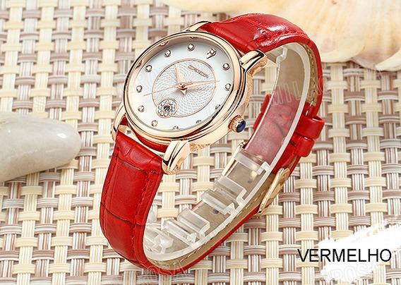 Relógio Feminino Importado Elegante Casual Couro Vermelho