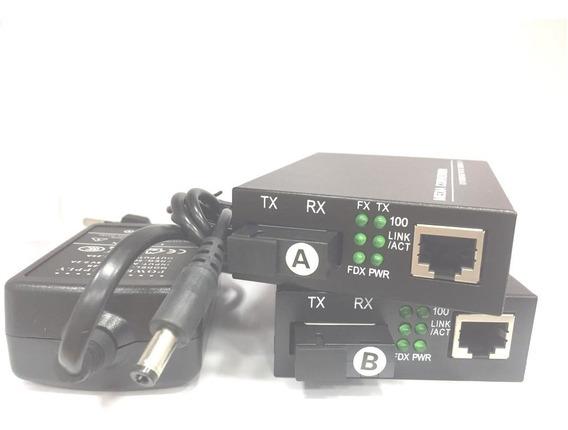 Kit Conversor Mídia Fibra Ótica Hdv 20km 10/100 (par A-b)