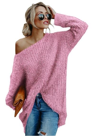 Suéter Moderno, Nuevo, Sexy Y Peludo Con Cuello Asimétrico