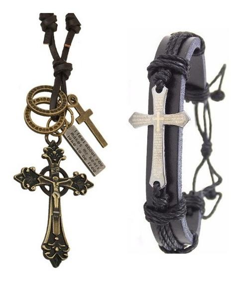Cordão Colar Masculino Couro Dourado + Pulseira Crucifixo