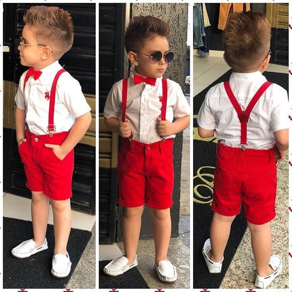 Conjunto Infantil Camisa Social Bermuda Kit Suspensório