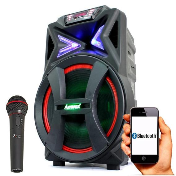 Caixa Som Bluetooth Radio Fm Mp3 Usb P2 P10 Aux Sd Amvox