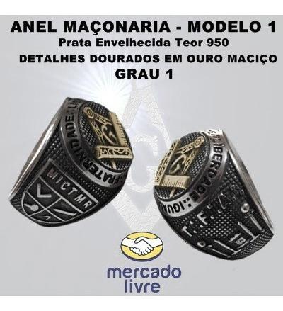 Anel Maçonaria Grau 1 - Prata 950 E Detalhe Em Ouro Maciço