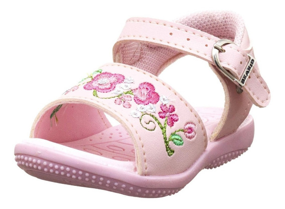 Sandalinha Infantil Feminino Baby Rosa Bordade