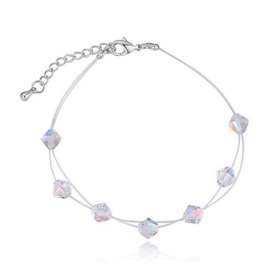 Pulsera Con Cristales, Amor De Cristal Ac16-915 Baño De Oro