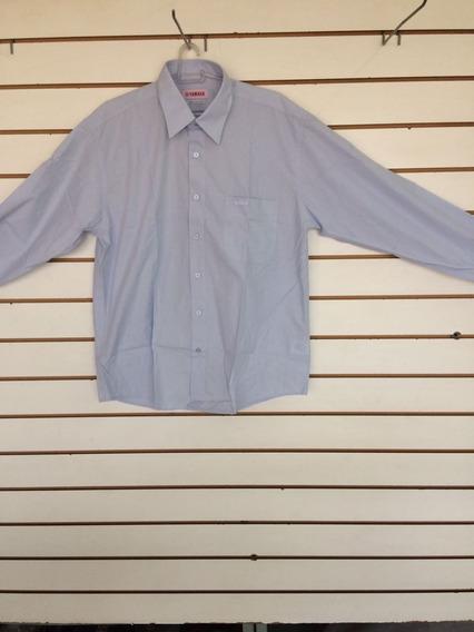 Camisa Masculina Work Azul Manga Comprida