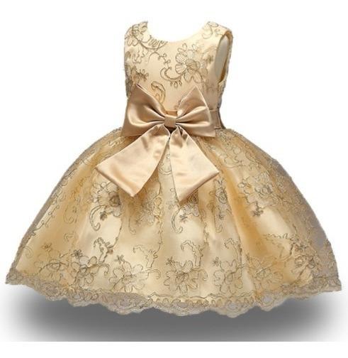 Vestido Infantil Princesa Dama De Honra Dourado Frete Grátis