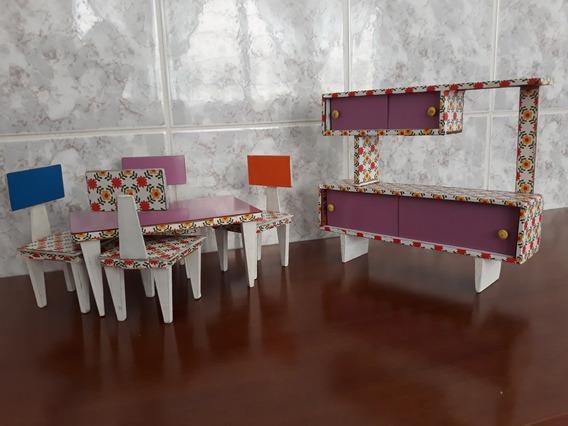 Moveis P/casinha De Brinquedo Antigo Jogo De Quarto/cozinha