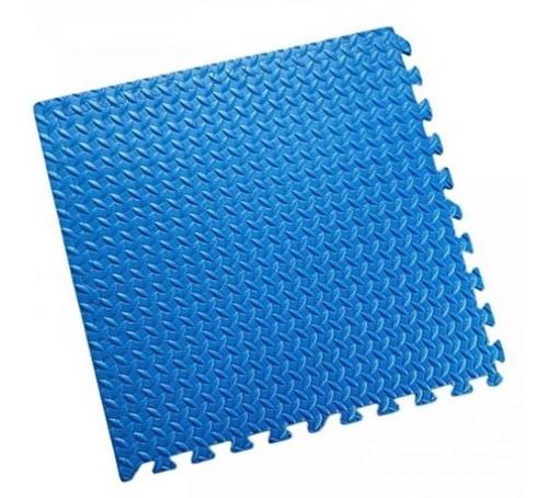 4 Laminas Alfombra Piso Goma 62cm×62cm Eva 10mm Tatami Azul