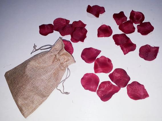 Cotillón Bolsita Arpillera 18x13 Cm Con 50 Pétalos De Rosas