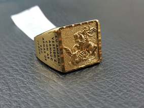 Anel Masculino De São Jorge Ouro 18k Com Oração - Modelo Oco