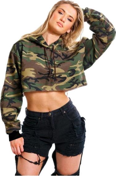 Blusas Cropped Moletom Femininas Preto Manga Longa Camuflado
