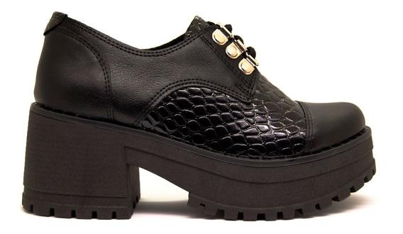 Zapatos Abotinados Mujer Con Base Tractor Charol Croco Negro