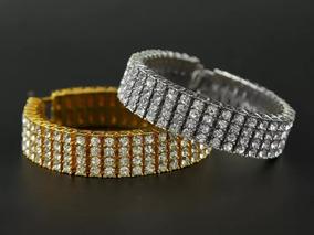 Pulseira Bracelete 4 Row Cor Ouro Prata Zirconias Hip-ho