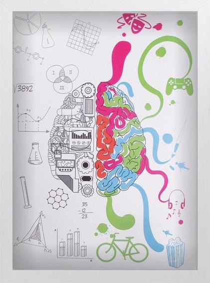 Quadro Cerebro Criativo A3 30x40 Decoração Arte Branco