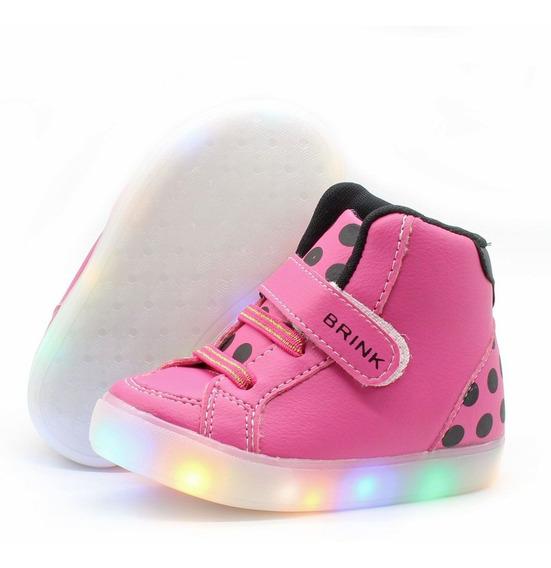 Tenis Botinha Com Luzes Coloridas Infantil Feminino Rosa