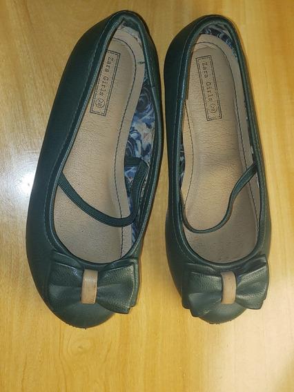 Ballerina Zara Girls Verde Ingles Talle 27/28