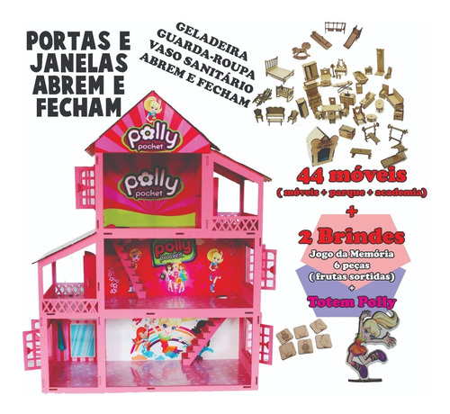 Casa Casinha Rosa Adesivada Para Boneca Polly E 44 Móveis