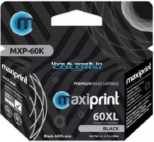 Cartucho Compatible Hp Marca Maxiprint 60 Negro Xl