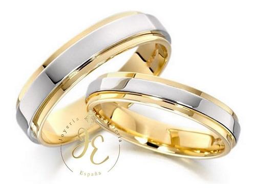 Aros De Matrimonio Oro 18k Alianzas Bicolor Am_35 Jespaña
