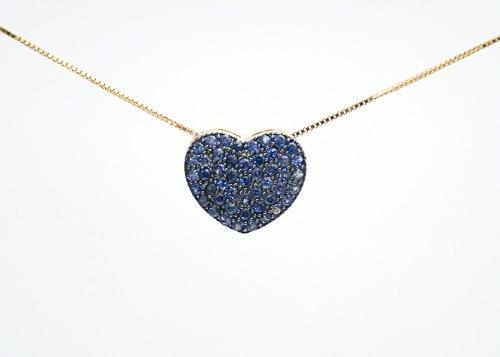 Corrente + Pingente De Ouro 750 Coração De Safiras B08