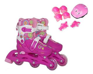Patins Roller Menina 32/35 Infantil Ajustável 2 Em 1 Rosa
