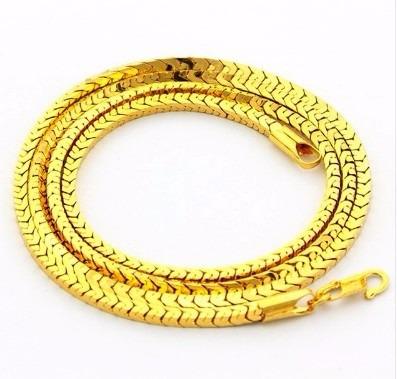 Corrente Cordão Masculino Banhada Ouro 24k Estilo Cobra 70cm