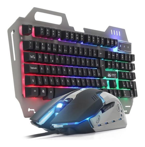 Kit Teclado Iluminado Chroma + Mouse Gamer Rgb 2400 Dpi
