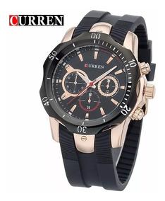 Relógio Curren 8163 Preto E Dourado Novo Social Sport