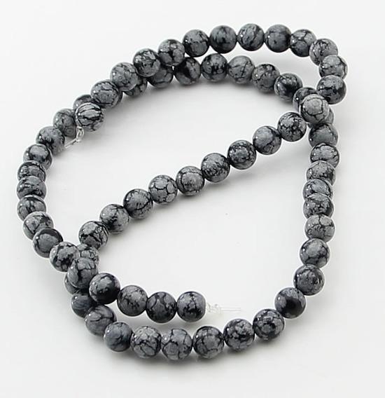 Obsidiana Flocos Neve Bola Esfera Lisa 6mm Teostone Fio 1260