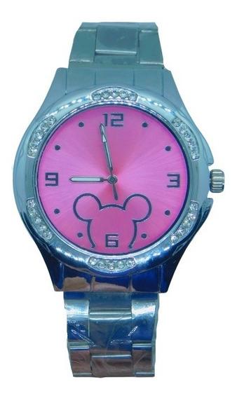 Relógio Feminino Prateado Mickey Mouse Delicado Brilhante