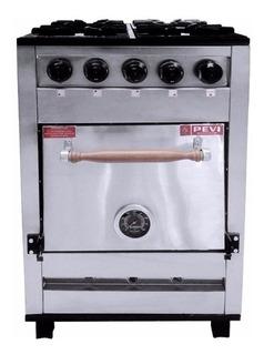 Cocina industrial Pevi 4H 55cm 4 multigas acero inoxidable 220V puerta ciega
