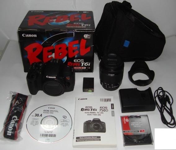 Kit Canon T6i + Lente 18-55mm + Parasol + Filtro + Bolsa
