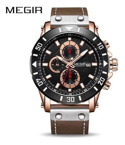 Relógio Megir 2081 Original 30 Metros Inox Couro Legitimo