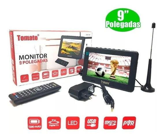 Mini Tv 9 Pol. Monitor Controle Remoto Portátil À Bateria