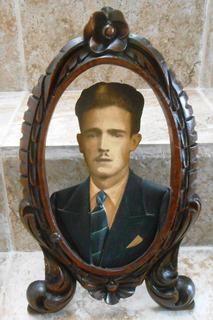 Antiguo Cuadro Marco Porta Retrato Tallado Madera Cedro 30s