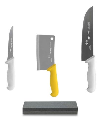 Imagen 1 de 6 de Combo Carnicero Cuchillo Deshuese Hacha  + Piedra -starrett