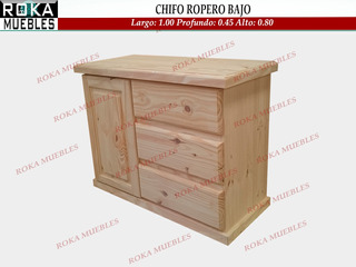 Chifonier Ropero Chato 1.00x0.45x0.74 Macizo Pino Roka