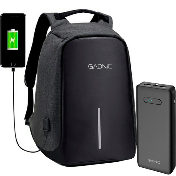 Kit Mochila Antirrobo + Power Bank Gadnic Oficial Garantia