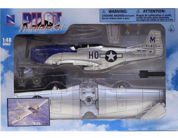 Kit Montar Avião De Combate P-51 Prata New Ray