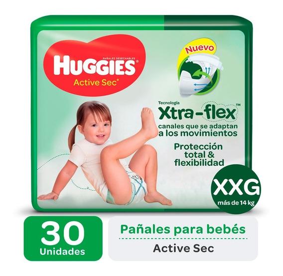 Pañales Huggies Active Sec Xtra-flex Ultrapack M G Xg Xxg