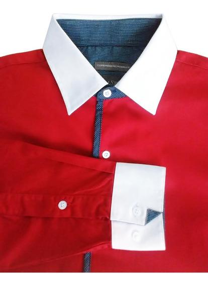 Camisa De Vestir Wallstreet Roja Cuello Button Down Talla M