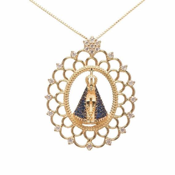 Colar Folheado Ouro 18k Mandala Nossa Senhora Aparecida