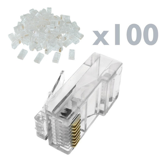 Conector Fichas Rj45 X 100u Doble Contacto Cable Red Utp C5