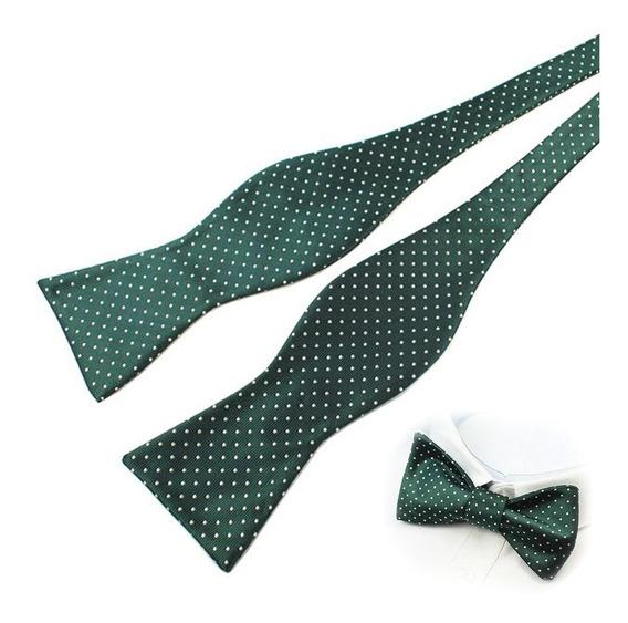 Corbata De Lazo Moño Para Atar De Seda Verde Con Puntos