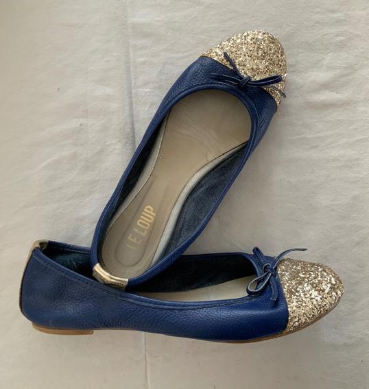 Le Loup. Zapatos Ballerinas Azules. Con Glitter. Talle 37