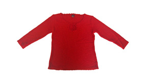 Blusa Lã Tricô Vermelho Mescla Suéter Laço Decote Gota