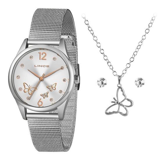 Relógio Lince Feminino Preto Borboletas Original